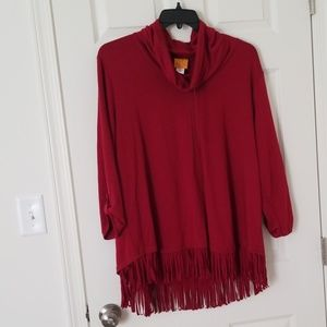 Ruby rd 1x red fringed bottom top with turtleneck